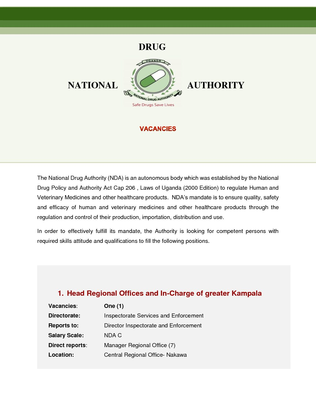 Jobs At National Drug Authority - East African Business Week