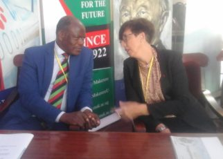 Makerere University Vice Chancellor Professor Barnabas Nawangwe talking to French Ambassador to Uganda Stephanie Rivoal
