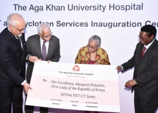 First Lady of the Republic of Kenya, Her Excellency Margaret Kenyatta, was Chief Guest at a ceremony inaugurating the PET-CT scanner. Also in attendance were Dr Jackson Kioko, Director of Medical Services, Ministry of Health, and other dignitaries.