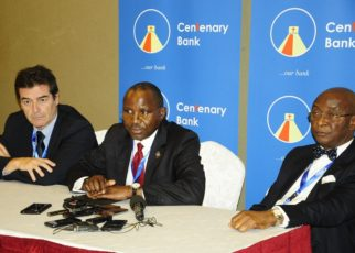 "Dr. Marcos Eguiguren, Executive Director GABV, Mr. Fabian Kasi, Managing Director, Centenary Bank MD and Prof Chris Ogbechie former Chairman, Diamond Trust Bank Plc addressing journalists during the Global Alliance for Banking on Values conference at Sheraton Hotel on 17th October, 2018. The conference was held under the theme, ""Financial Inclusion from a values-based banking perspective""."