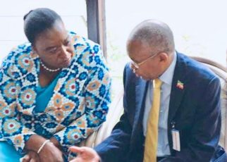 Kenya Foreign Affairs minister Monica Juma (left) and her Somaliland counterpart Dr Saad Shire having a chat at the United Nations in Nairobi when the two met during the presentation of the UN personality of the year 2018 award to world marathon record holder Eliud Kipchoge on Wednesday evening. The two discussed on a range of issues regarding Kenya and Somaliland.