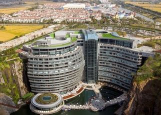 Costing 2 billion yuan ($287.9 million) to complete, the 88-meter-deep hotel is located in the Songjiang district.