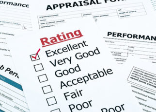 During the review, stay positive that certain skills and performances are improving.