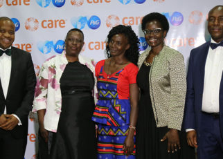 From left, George Owuor Jr, Head of Government Relations, P&G_ Ruth A Odinga, Former Deputy Governor Kisumu County_ Mary Anyango_ Dorothy Nyong'o, First Lady Kisumu County_ Salmon Orimba, CEC Water Kisumu County
