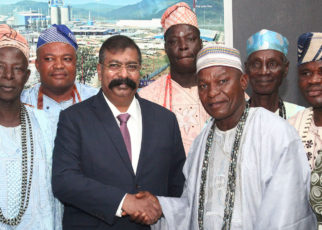 L-R: Heads of Communities of Olomowewe, Chief Shefiu Aguda; Idasho Community, Chief Alisan latifu; Imobido Community, Chief Jegede Lateef; Group Executive Director, Dangote Industries Limited, Devakumar Edwin; Aro of Lekki, Chief Adewale Salami; and Baale of Tiye Community, Chief Kayode Mujitafa, during the stakeholder parley between representatives of Lekki Free Trade Zone host communities and Dangote Oil Refining Company in Lagos