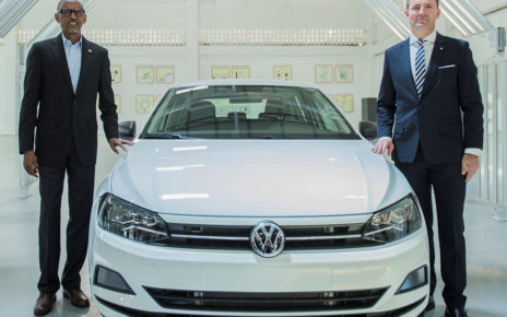 His Excellency Paul Kagame President of Republic of Rwanda and Thomas Schäfer, CEO of the Volkswagen Group South Africa at the official opening of Wolkswagen Rwanda assembly plant in 2018