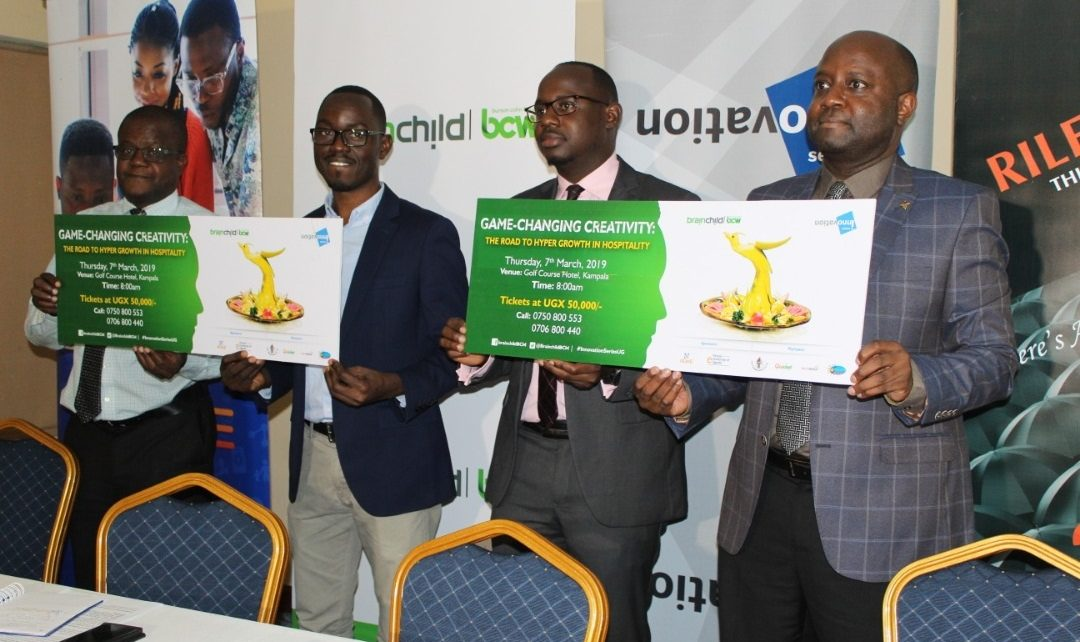 (L-R) Mr. Amos Otienno, the Deputy GM Golf Course Hotel, Mr. Walter Wafula, the Business Unit Head brainchild BCW, Mr. Alex Bazirake, Roke Telkom's Third Party Account and Mr. Rinaldi Jamugisa, PR, Digital and Comms Manager brainchild BCW at the press launch.
