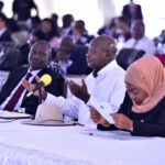 Museveni in the middle, Ms Suluhu (right) and Kenyan Deputy President Ruto at the Africa Now Summit in Munyonyo