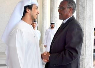 Somaliland President Muse Bihi Abdi shakes hands with the Deputy Prime Minister of the United Arab Emirates, Sheikh Mansour Bin Zayed Al-Nahyan