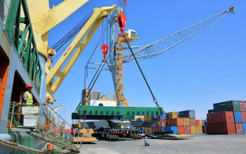 Part of the cranes introduced by the DP World in the Somaliland Port of Berbera