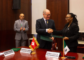 Signature of two agreements for donation between Switzerland and the AfDB, in the presence of Mr Raymund Furrer, head of Economic Cooperating and Development Stare Secretariat for Economic Affairs (SECO) and VP Tshabalala Bajabulile Swazy of the AfDB, during day 3 of the AfDB Annual Meetings on 13 June 2019 in Malabo, Equatorial Guinea. (Photo by Juliette Avice)