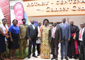 Speaker of Parliament Rebecca Kadaga launches the 8th edition of the Rotary Cancer Run at Nsambya Hospital on Tuesday